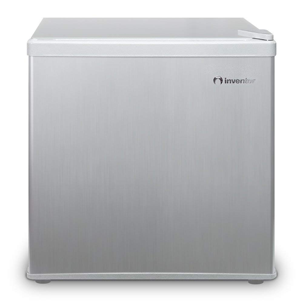 Inventor Mini-Réfrigérateur 43L, Couleur : Argent, Classe Énergétique A ++ pour des Économies d'Énergie Plus Élevées, Volume de Stockage 43L, Consommation d'Énergie 84 kWh / an, Bas Niveau Sonore, Technologie Low Frost, Porte Réversible [Classe énergétique