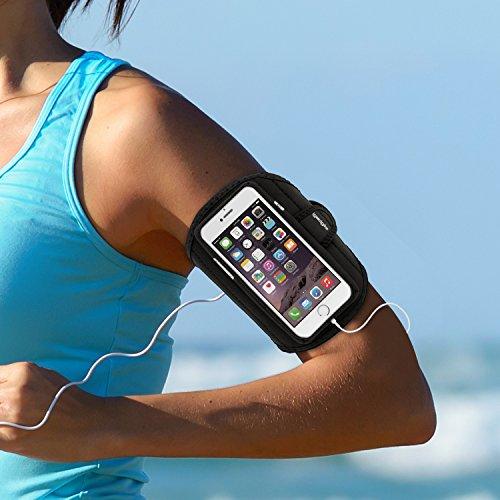 igadgitz Wasserabweisend Schwarz Sports Jogging Armband Laufen Fitness Oberarmtasche für Apple iPhone 7 & 8 4.7 Zoll