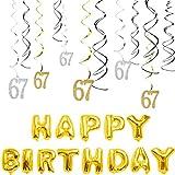 kitchen 67 birthday MAGJUCHE 67th Birthday Decorations Kit-Gold Silver Glitter Happy 67 years old Birthday Banner & Sparkling Celebration Hanging Swirls, Party Supplies