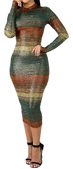59197819a95 OTW Women s Gradient Color Stripe Casual Bodycon Long Sleeve Cocktail Party  Midi Dress ...