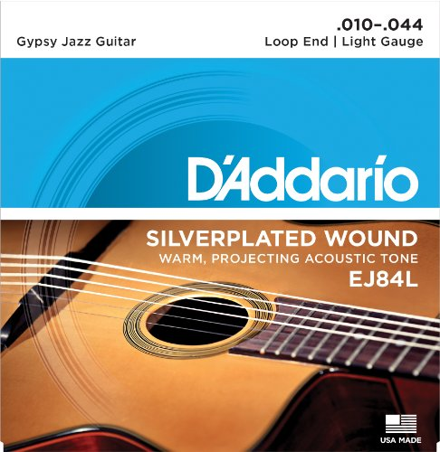 D'Addario EJ84L Gypsy Jazz Acoustic Guitar Strings, Loop End, Light, 10-44 - Galli Guitar Strings