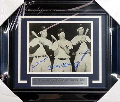 Mickey Mantle, Joe DiMaggio & Ted Williams Autographed Framed 8x10 Photo PSA/DNA #AB09148