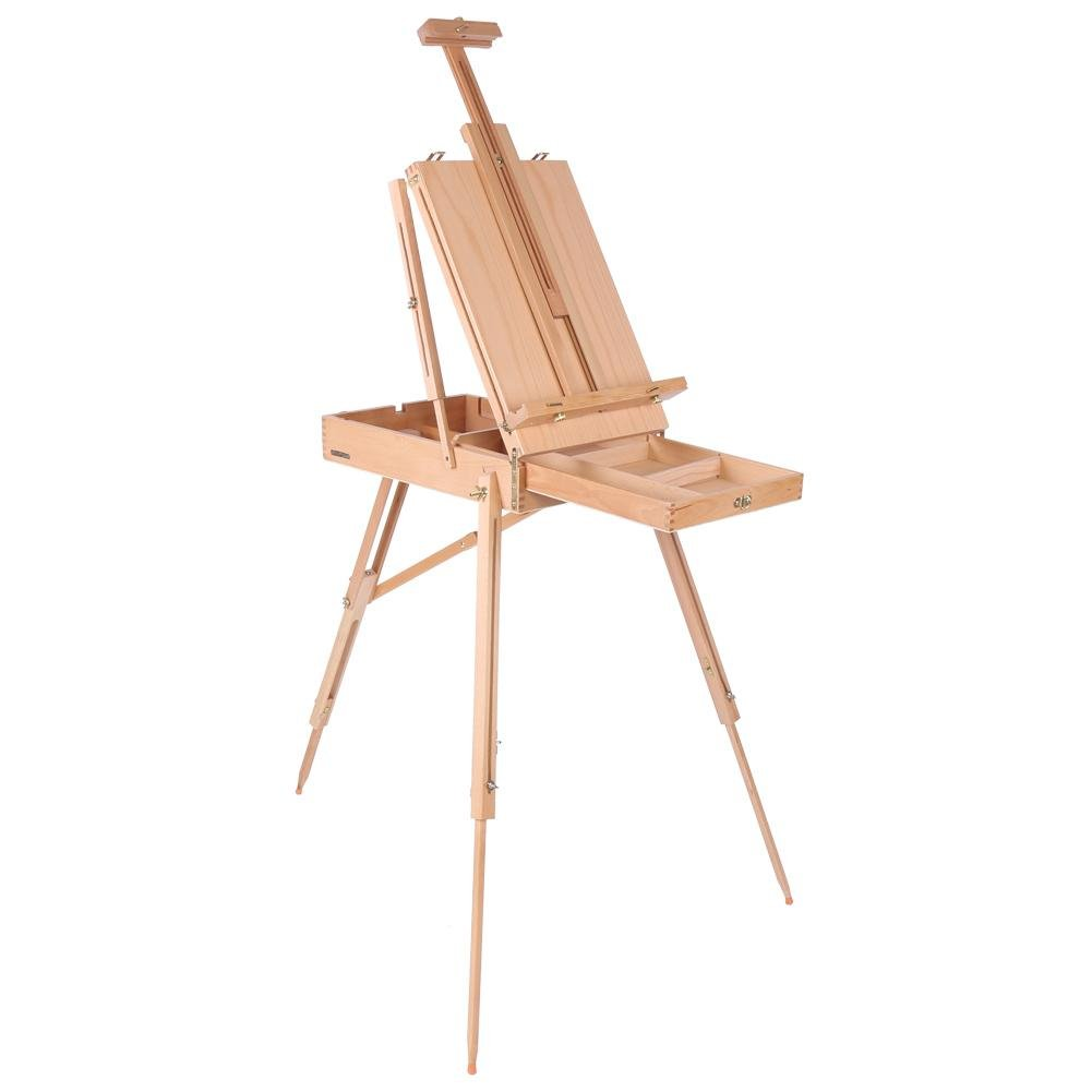 French Art Easel, 1pc Wooden Table Painting Easel Case Sketch Box Portable Folding Artist Painters Tripod with Shoulder Strap for Field Painting and Drawing(Large)(大号) by Zerone (Image #1)