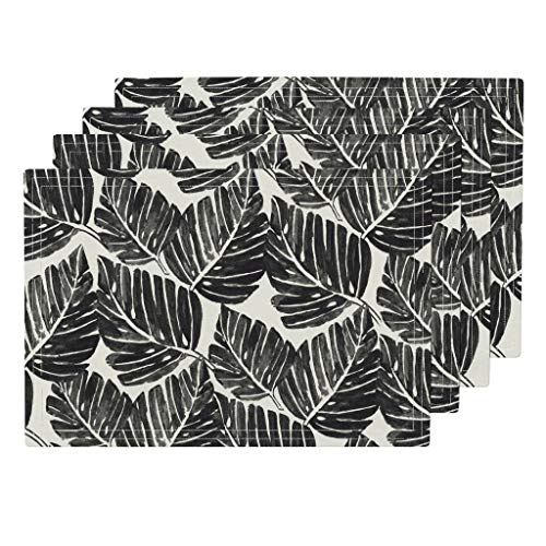 Black and White Palm Leaves 4pc Organic Cotton Sateen Cloth Placemat Set - Leaves Tropical Monstera Philodendron Black White Jungle Palm Leaves Organic Kni by Crystal Walen (Set of 4) 13 x 19in