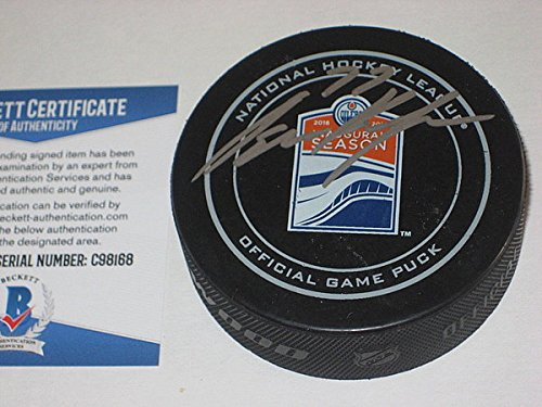 - Oscar Klefbom Signed Official Oilers Inaugural Game Puck with - Beckett Certified