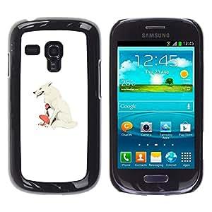 Caucho caso de Shell duro de la cubierta de accesorios de protección BY RAYDREAMMM - Samsung Galaxy S3 MINI 8190 - White Wolf & Girl