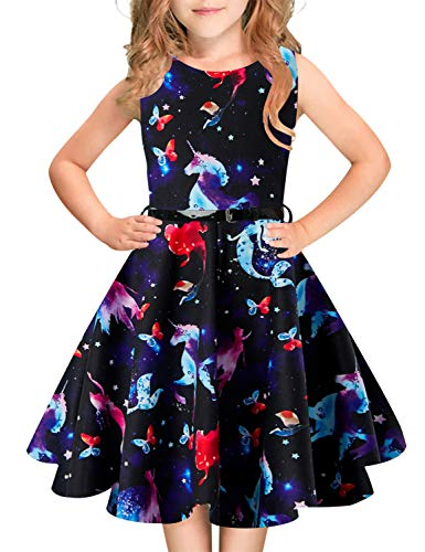 - Girls Vintage Sleeveless Dress Zipper Back Mermaid Unicorn Party Retro Dresses 10-11 Years