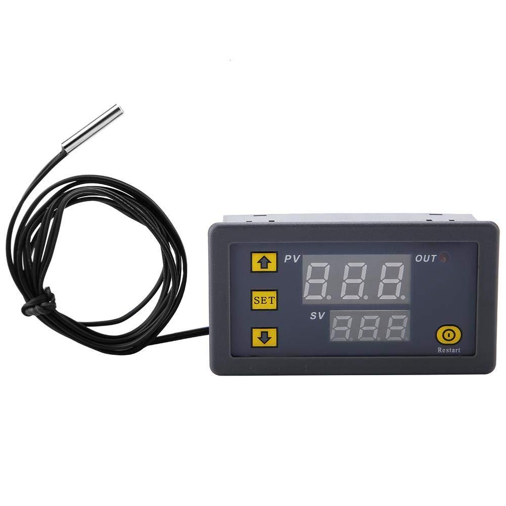 Termostato , W3230 LED Controlador de temperatura digital Termostato Interruptor Medidor Sensor DC 12V 24V 220V (12VRed and blue display)