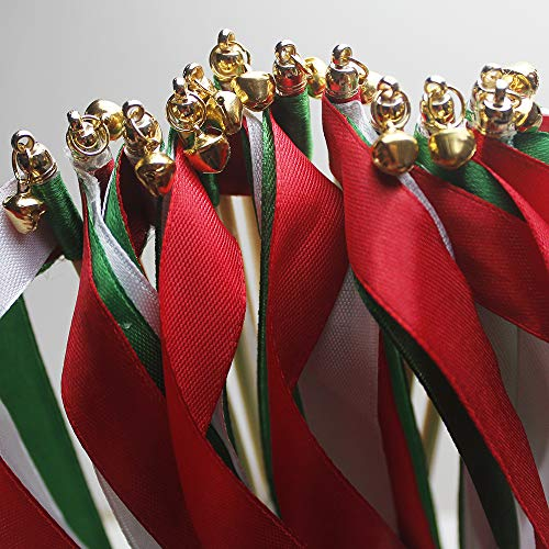 (zeman 24 pcs Red Green White Christmas Decor Silk Wish Wands Ribbon Streamers with Bell Fairy Stick Party Favor for Baby Shower Wedding New Year Holiday Birthday Celebration )