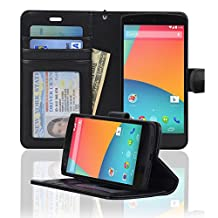 Navor Protective Book Style Folio Wallet PU Leather Case for Google Nexus 5 ( Black )
