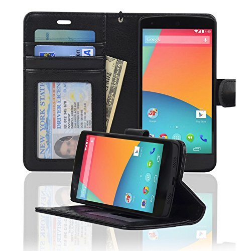 Navor Protective Book Style Folio Wallet PU Leather Case for Google Nexus 5 (Black)