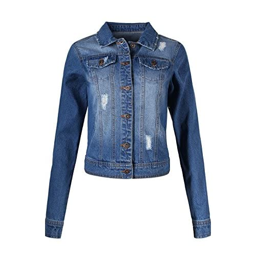 Hot 2LUV Women's Classic Long Sleeve Button Down Denim Jean Jacket for cheap
