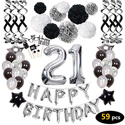 21st Birthday Decorations,21st Happy Birthday Decorations Balloons Party Supplies,21 Birthday Balloons Banners Confetti Hanging Swirls Paper Pompoms Cake Topper,for Her Women Girls Man]()