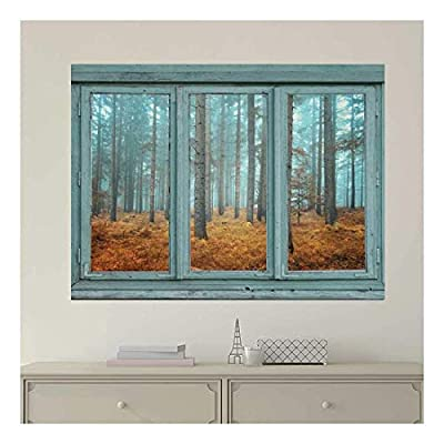 Vintage Teal Window Looking Out Into a Blue Foggy Forest During Fall Time - Wall Mural, Removable Sticker, Home Decor - 36x48 inches