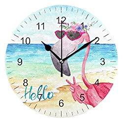 Wamika Wall Clock Pink Flamingo Beach Sea Summer Flowers Silent Non Ticking Round Clocks, Flamingos Birds Ocean Floral Clocks 10 Inch Battery Operated Quartz Quiet Desk Clock for Home Office