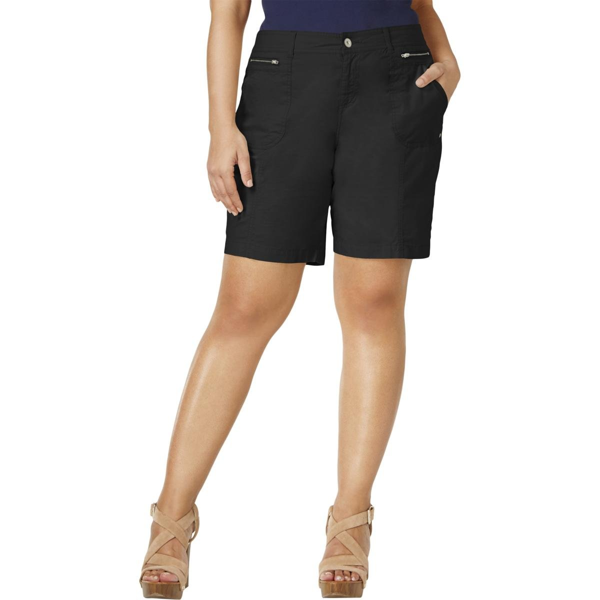 Style & Co.. Womens Plus Relaxed Mid Rise Shorts Black 14W