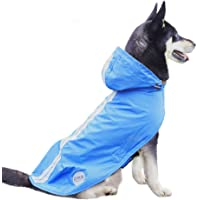 Nourse CHOWSING Dog Raincoat Lightweight Waterproof Dog Raincoats, with Reflective Safety Strip & Leash Hole Raincoat, for Large & Medium Dogs Up to 66Lbs