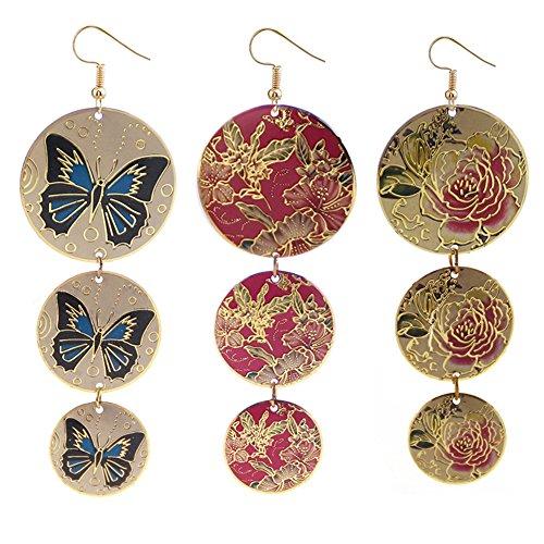 Metal Body Paint Kit Silver Costumes (Round Bronze Flower Butterfly Paint Earrings Women Fashion Ear Stud Clips Cuff Long Black)