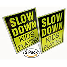Slow Down Kids Playing Signs with Stands   Children at Play   Bright Reflective Yellow for Safety   Perfect for Outdoor Playtime   8.5 x 11 Easy to Store Size (2 Pack)