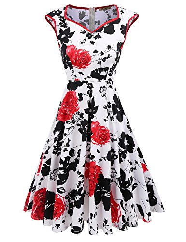 Print Cotton Spandex (ACEVOG Women's Vintage Style Sleeveless Floral Print V Neck Party Evening Cocktail Dress, Red Floral, XL)