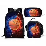 Basketball Print Kids Boy Backpack School Bookbag Lunch Bag Pencil Bag 3 Pieces Set