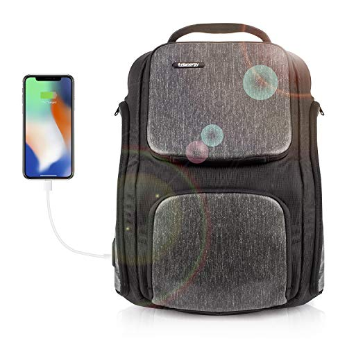 - HANERGY Solar Backpack Anti-Theft Waterproof Laptop Backpack Casual Business Tablets Travel Hiking Backpacks with Solar Charger Panel, 2 USB Micro Charger Port
