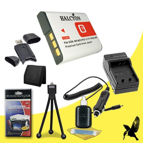 Halcyon 1400 mAH Lithium Ion Replacement NP-BG1 Battery and Charger Kit + Memory Card Wallet + SDHC Card USB Reader + Deluxe Starter Kit for Sony CyberShot DSC-HX30V, DSC-HX20V, DSC-HX5V, DSC-HX7V, DSC-HX9V, DSC-H3, DSC-H7, DSC-H9, DSC-N1, DSC-N2, DSC-T100, DSC-T20, DSC-W100, DSC-W130, DSC-W150, DSC-W200, DSC-W30, DSC-W300, DSC-W35, DSC-W50, DSC-W55, DSC-W70, DSC-W80, DSC-W90, DSC-H10, DSC-H20, DSC-H50, DSC-H55, DSC-H70, DSC-W120, DSC-W170, DSC-W210, DSC-W215,Digital Cameras and Sony NP-BG1