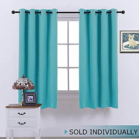 NICETOWN Thermal Insulated Blackout Curtain - (Turquoise Color) Shading Curtain for Kid's Room ,52x63-Inch ,One (Eclipse Kids 63)