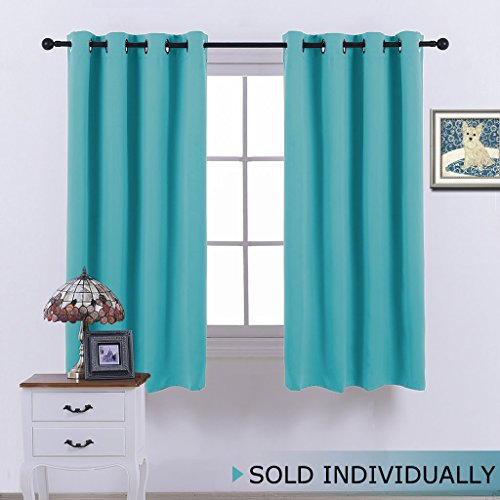 Blackout Shades for Bedroom Windows - (Turquoise Blue Color) Thermal Insultaed Window Treatment Curtain Drape, Room Darkening Modern Drapery for Boy's Room by NICETOWN, 52x63-Inch ,One (Modern Curtain Panels)