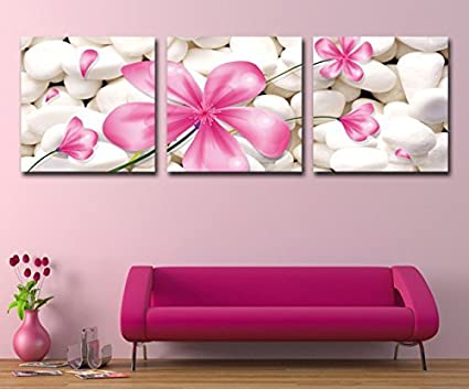 Amazon mon art canvas art 3p wall art deco modern abstract mon art canvas art 3p wall art deco modern abstract painting on canvas with pink flowers mightylinksfo