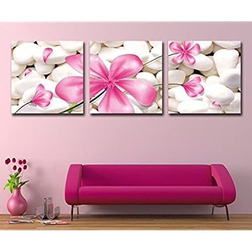 Mon art canvas art 3p wall art deco modern abstract painting on canvas with pink flowers stretched and framed ready to hang
