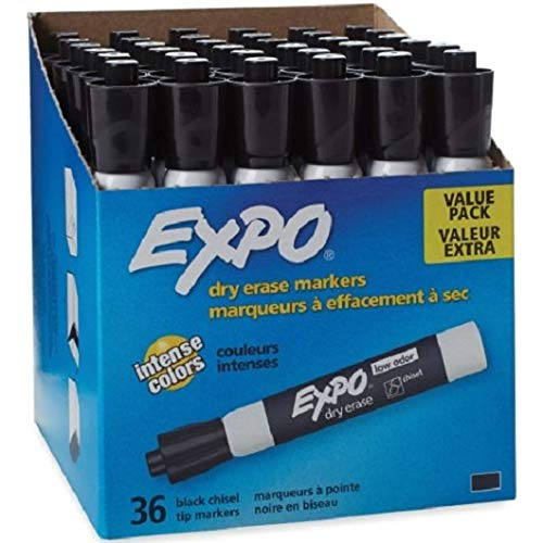 Expo 1920940 Low Odor Dry Erase Marker Chisel Tip Black 36/Box by SAN1920940 (Image #1)