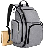 Baby : Mancro Diaper Bag Backpack, Organizer Back Pack for Mom / Dad with Baby Stroller Straps, Changing Pad & Insulated Pockets, Water Resistant Anti-theft Travel Bags for Boys / Girls Care in Grey