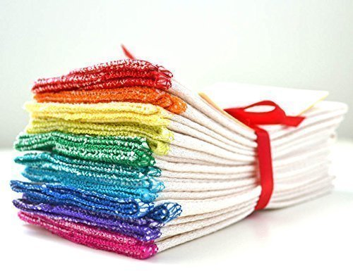 Organic Paperless Towels Set of 10 in Rainbow Assortment