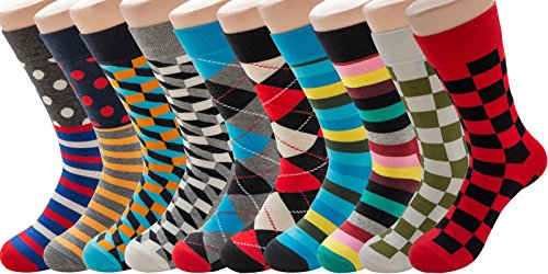 PUTON Men's Fun & Funky Colorful Cotton Dress Socks (10 pack Assorted (Cotton Nylon Suit)