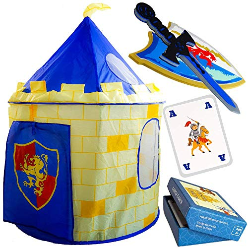 Nona Active Play Tent for Kids - Knight Castle Fantasy World with Foam Sword and Shield Plus Knight Castle Card Game - 100% Refund Guarantee