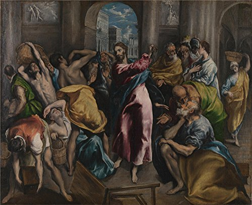 'El Greco Christ Driving The Traders From The Temple ' Oil Painting, 18 X 22 Inch / 46 X 56 Cm ,printed On Perfect Effect Canvas ,this High Resolution Art Decorative Canvas Prints Is Perfectly Suitalbe For Gym Gallery Art And Home Gallery Art And