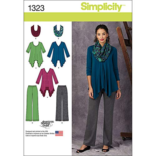 Simplicity 1323 American Sewing Guild Women's Knit Tunic, Pants, and Infinity Scarf Sewing Pattern, Sizes 14-22 - $4.75