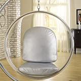 Modway Eero Aarnio Style Bubble Chair with Silver Pillows