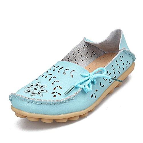 Bridfa Zapatos de mujer de cuero genuino de mujer Mocasines de mujer Slip-On pisos femeninos Mocasines Zapatos de conducción de damas recortes madre calzado Moonlight