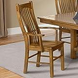 Laurelhurst Slatback Arm Chair with Wood Seat Rustic Oak/Set of 2