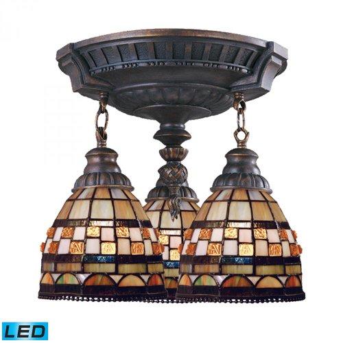 Elk Lighting 997-AW-10-LED Mix-N-Match 3-Light Aged Walnut-LED, 800 (2400 Lumens Total) with Full Scale Semi Flush - Walnut 800
