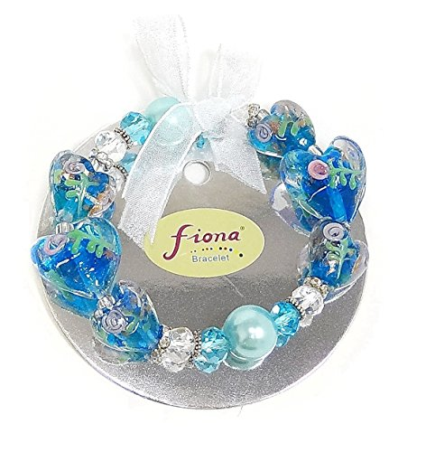 Linpeng 3D Hand Painted Heart Lampwork Glass Beads Stretch Bracelet -