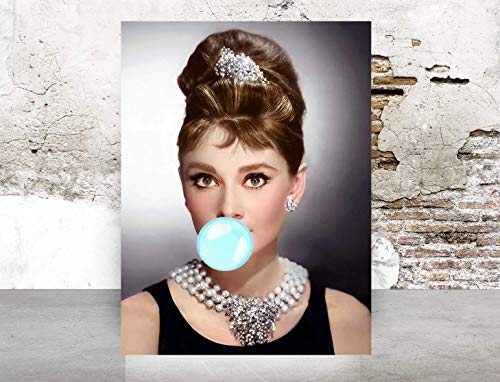 Fashion wall covering pop art print glam decor - Illustration - New York Audrey Hepburn - Chic Glam Vogue poster on Fine Art Paper 1021]()