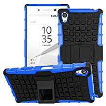 Sony Xperia Z5 Premium Case - MoKo Heavy Duty Rugged Dual Layer Armor with Kickstand Protective Cover for Sony Xperia Z5 Premium 5.5 Inch Smartphone 2015 Edition, BLUE