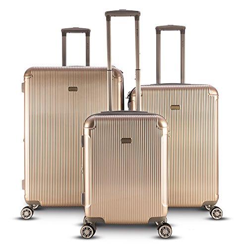Gabbiano Genova 3 Piece Expandable Hardside Spinner Luggage Set (Champagne)