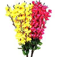Paradise Artificial Plastic Hanging Flower Bunch Wall Decor Plant(Red and Yellow)
