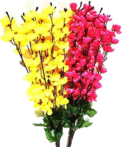 Paradise Artificial Plastic Hanging Red Yellow Flower Bunch Wall Decor