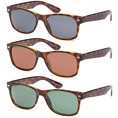 Gamma Ray Polarized UV400 Classic Style Sunglasses with Mirror Lens, 3 PACK - - Tortoise Sunglasses Polarized