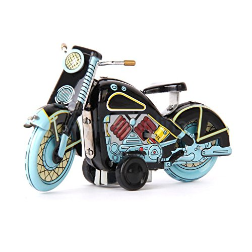 Shalleen Mini Retro Style Tin Toy Wind Up Motorcycle Model w/ Key Toy Collectible Gifts - Make Tintin Costume